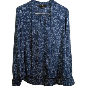 LULU'S polka dot neck tie button down top Small
